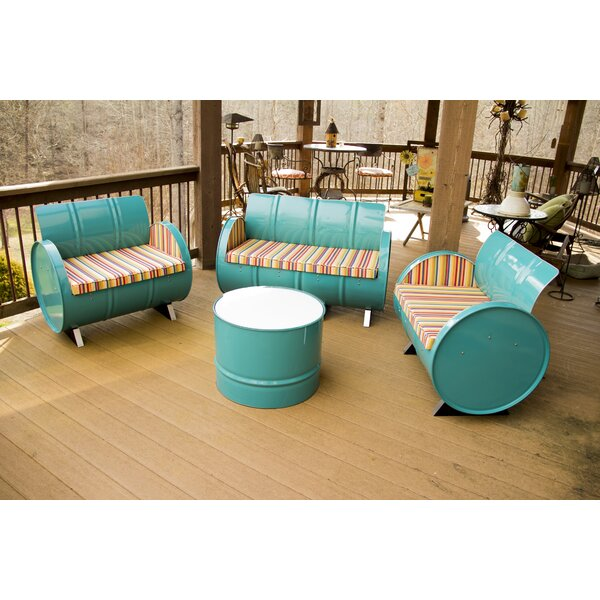 Outer Banks 4 Piece Sunbrella Sofa Set with Cushions by Drum Works Furniture