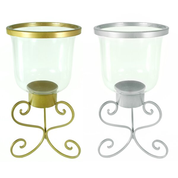 Glass and Metal Hurricane (Set of 2) by Charlton Home