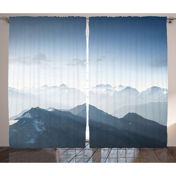 Fog Morning in Rock Mountain Decor Graphic Print Room Darkening Rod Pocket Curtain Panels (Set of 2) by East Urban Home