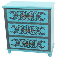 Painted Peacock Blue 3 Drawer Cabinet by River of Goods