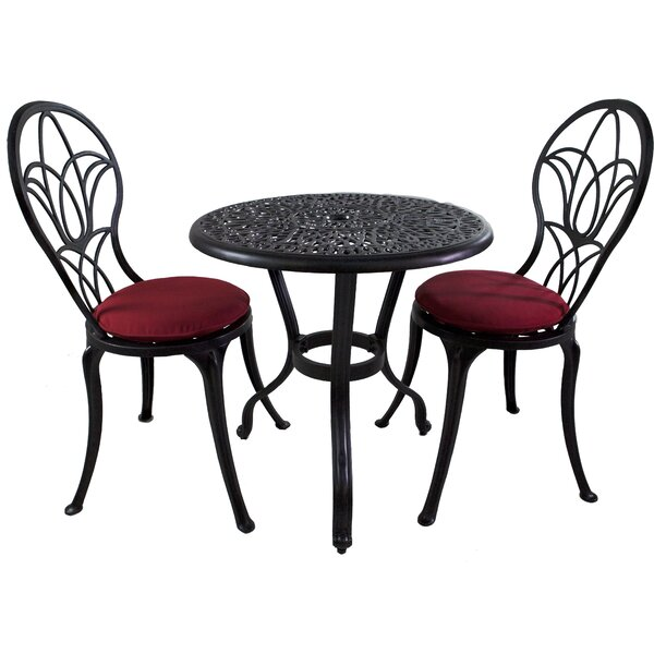 Mcmullan 3 Piece Sunbrella Bistro Set with Cushions by Astoria Grand