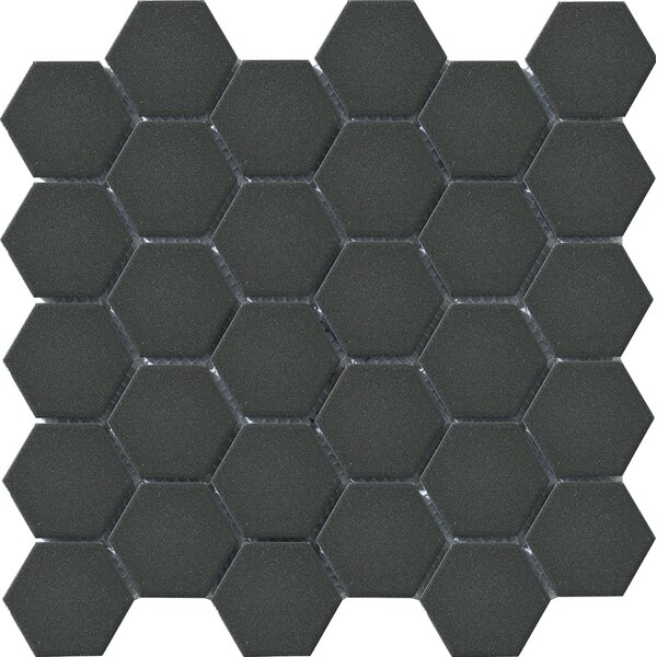 Urban 2 x 2 Porcelain Mosaic Tile in Black Hexagon by Walkon Tile