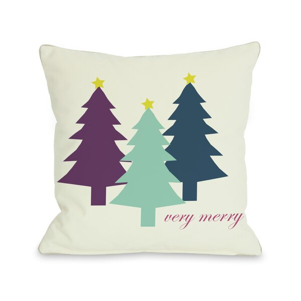Very Merry Christmas Trees Reversible Throw Pillow by One Bella Casa