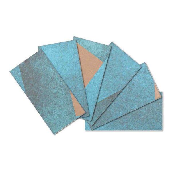 Crystal Skin 3 x 6 Glass Subway Tile in Blue/Orange by SkinnyTile