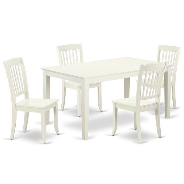 Laforest 5 Piece Solid Wood Dining Set by August Grove