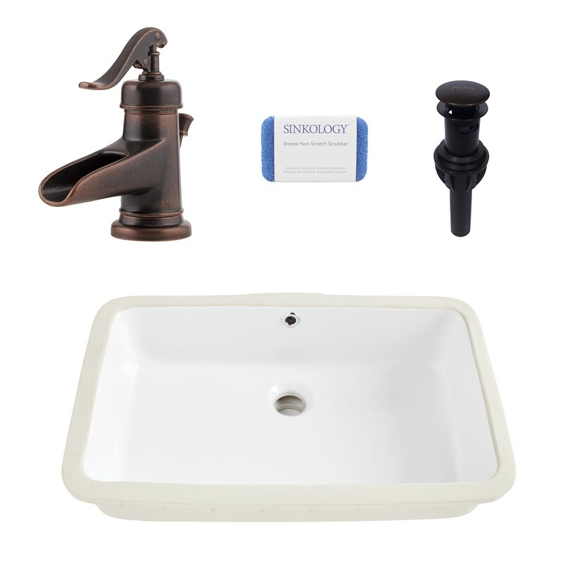 Carder Vitreous China Rectangle Undermount  Bathroom Sink With Faucet and Overflow