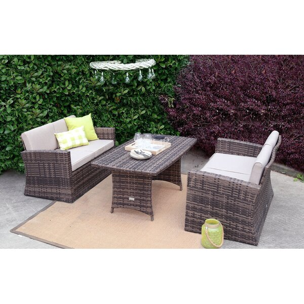 Soto 3 Piece Rattan Sofa Seating Group with Cushions by Rosecliff Heights