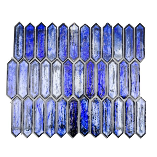 Fargin Elongated 0.9 x 3.1 Glass Mosaic Tile in Cobalt Ice by Splashback Tile