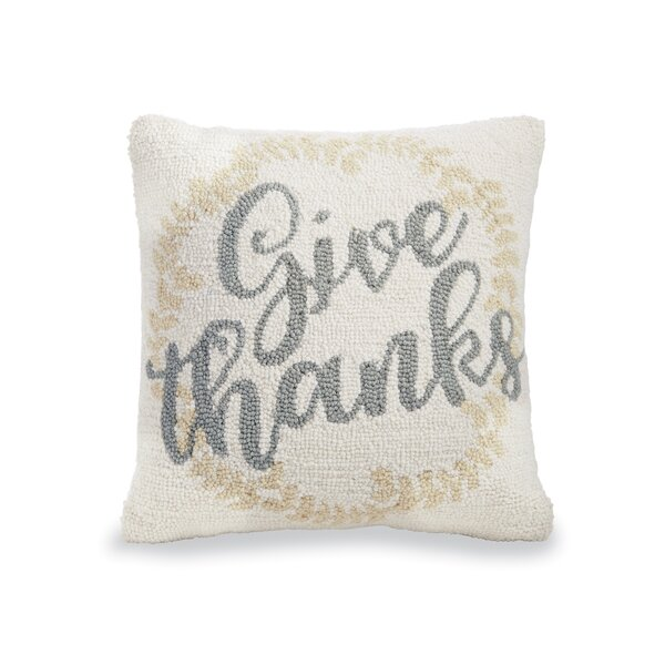 Give Thanks Hooked Wool Throw Pillow by Mud Pie™