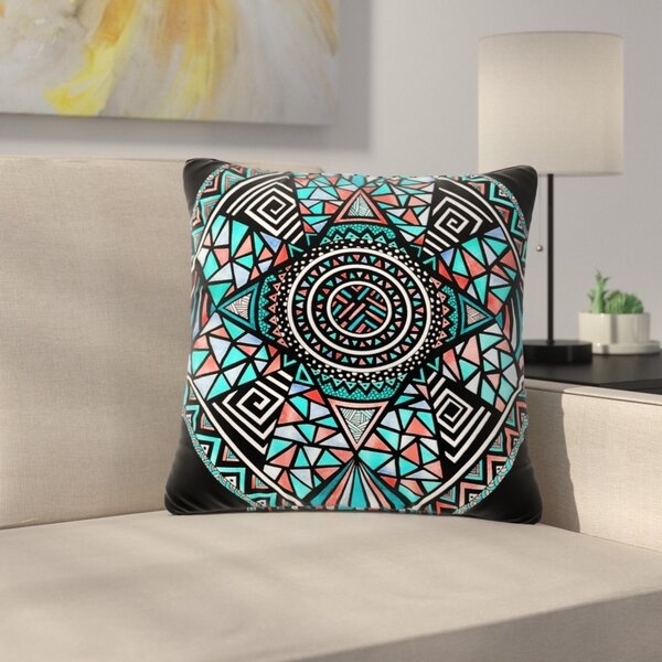 Pom Graphic Design Peacock Feathers Pattern Outdoor Throw Pillow by East Urban Home
