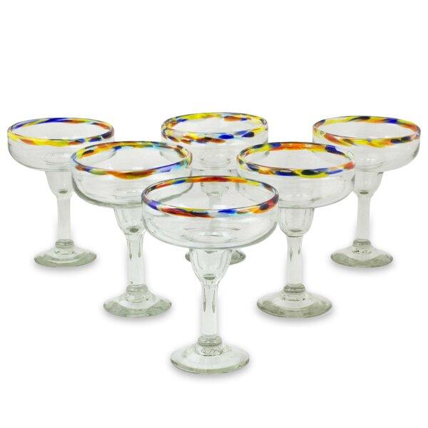 Confetti Kiss Margarita Glass (Set of 6) by Novica