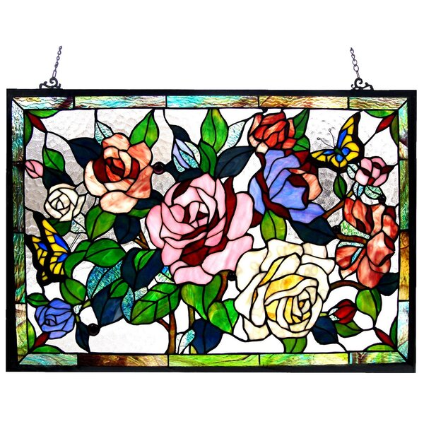 Roses / Butterflies Design Window Panel by Astoria Grand