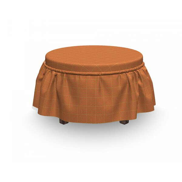 Angled Lines Composition Ottoman Slipcover (Set Of 2) By East Urban Home