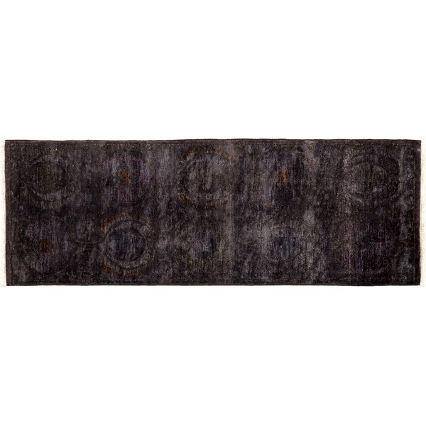 One-of-a-Kind Vibrance Hand-Knotted Black Area Rug by Darya Rugs