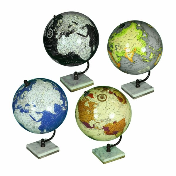 Marble and Wooden Square Base Globe (Set of 4) by Winston Porter