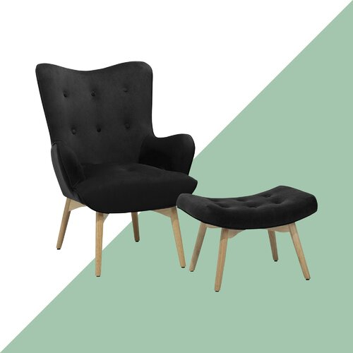 Carwile Velvet Wingback Chair and Footstool Hashtag Home
