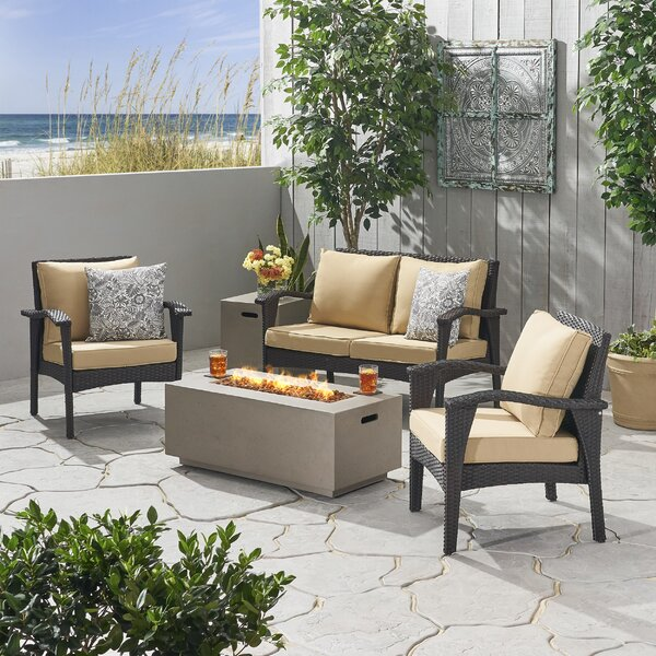Trimble Outdoor 5 Piece Sofa Seating Group with Cushions by Bayou Breeze Bayou Breeze