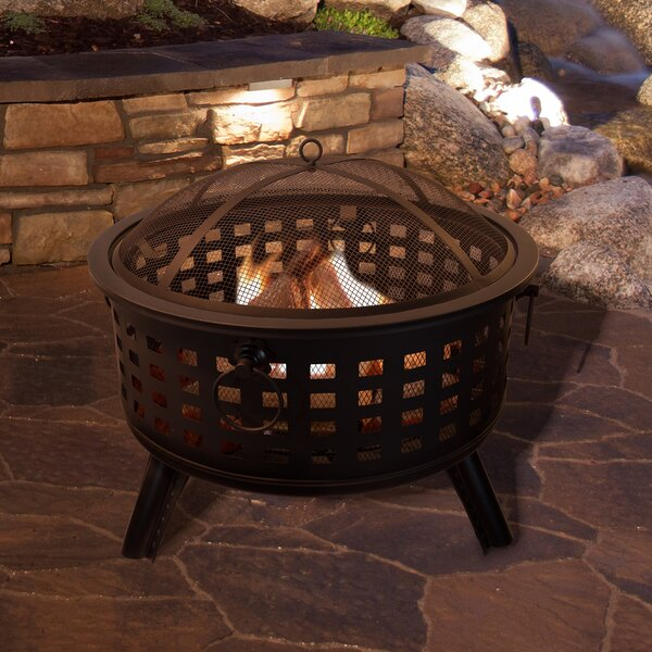 Round Steel Wood Burning Fire Pit by Pure Garden