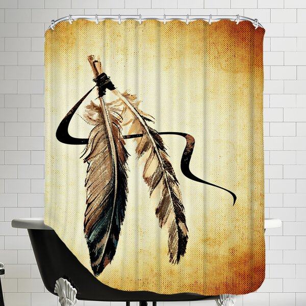 Feather Bird Paint Shower Curtain by East Urban Home