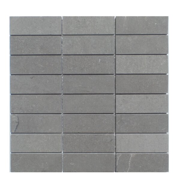 Stacked Honed Natural Stone Mosaic Tile in London Ash by Mulia Tile