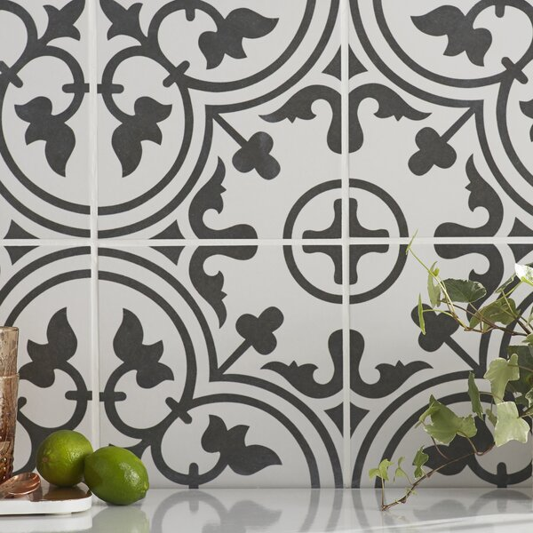 Artea 9.75 x 9.75 Porcelain Field Tile in Black/Wh