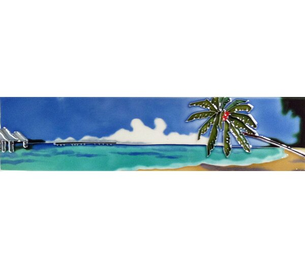 Horizontal Palm and Beach Tile Wall Decor by Continental Art Center
