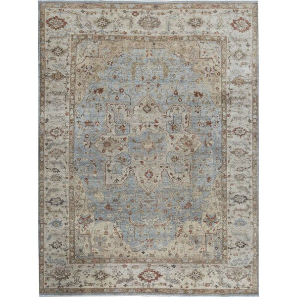 Hand-Knotted Blue/Ivory Rug