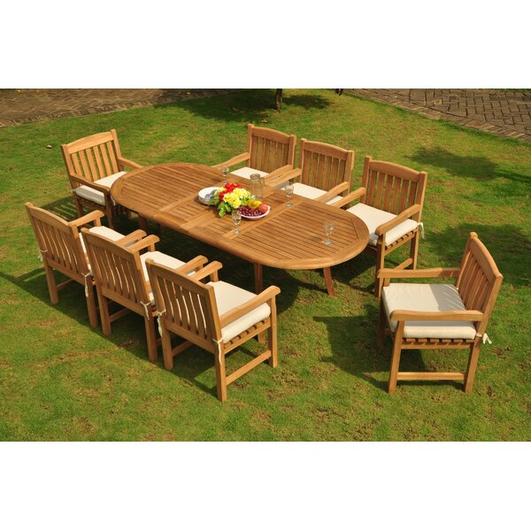 Robblee Luxurious 9 Piece Teak Dining Set by Rosecliff Heights
