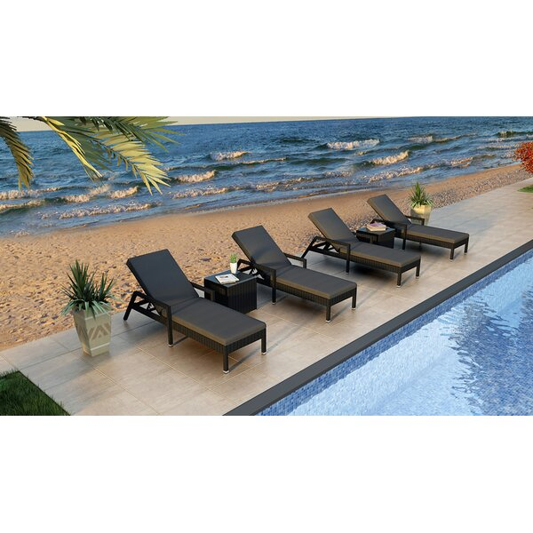 Azariah Reclining Chaise Lounge with Cushion and Table