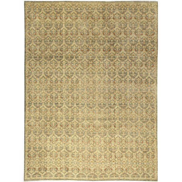 One-of-a-Kind Hand-Knotted Light Green/Beige 13'1 x 17'6 Wool Area Rug