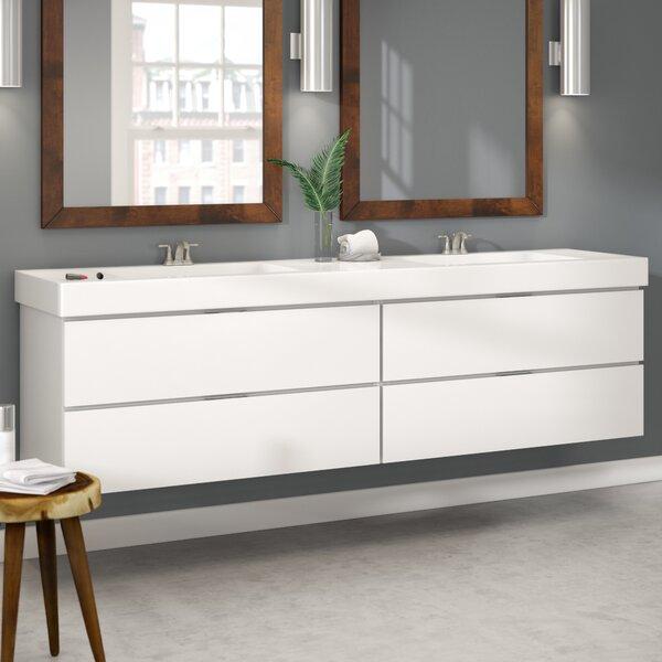 Tenafly Wood 80 Double Modern Bathroom Vanity Set by Wade Logan
