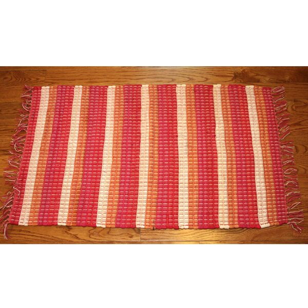One-of-a-Kind Linmore Nubby Stripe Hand-Woven Red Area Rug by Bay Isle Home