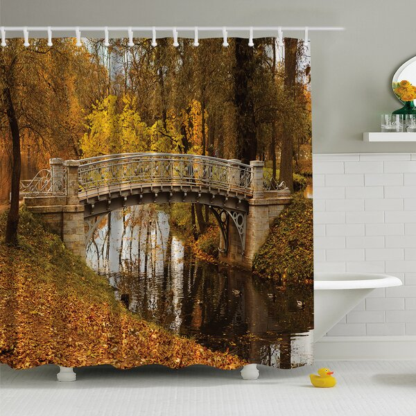 Fall View Print Shower Curtain by Ambesonne