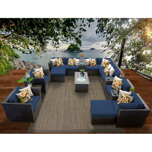 Barbados 17 Piece Rattan Sectional Set with Cushio