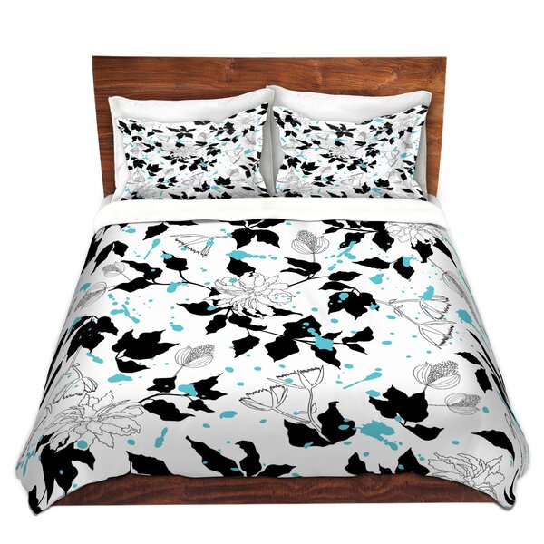 Sessoms Metka Hiti Flowers Splash Black White Microfiber Duvet Covers