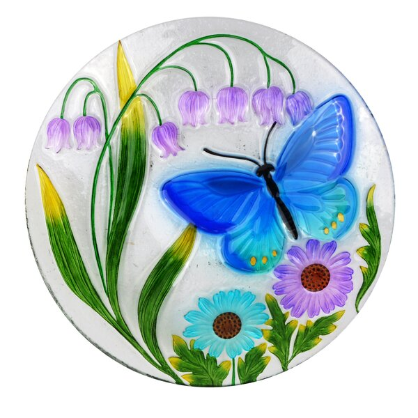 18 Butterfly and Flowers Birdbath by Alpine
