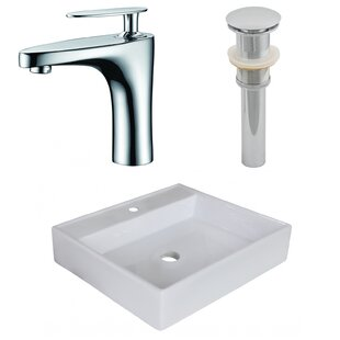 Ceramic Square Vessel Bathroom Sink with Faucet ByAmerican Imaginations