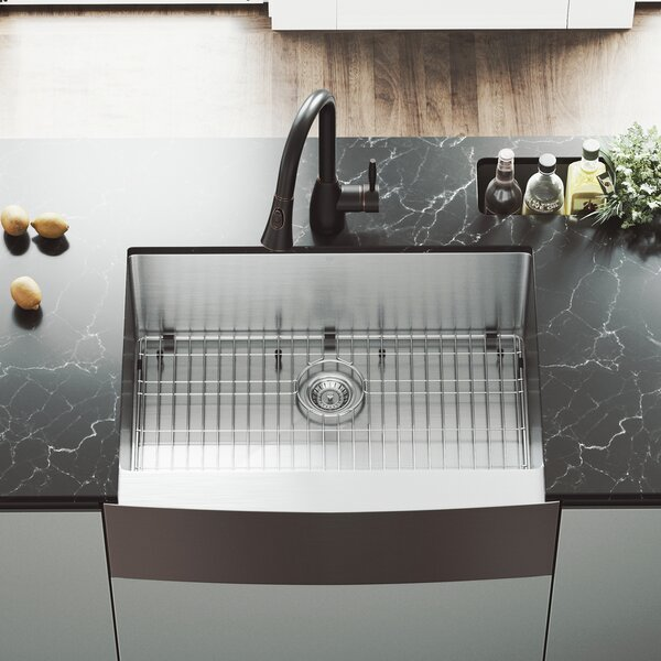 30 L x 22 W Farmhouse Kitchen Sink with Faucet, Grid and Strainer by VIGO