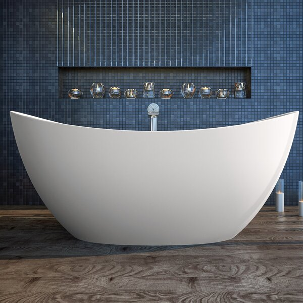 Purescape 72 x 39.25 Freestanding Soaking Bathtub by Aquatica