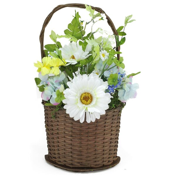 Lakeside Silk Mixed Flower Artificial Spring Floral Arrangement in Basket by Northlight Seasonal