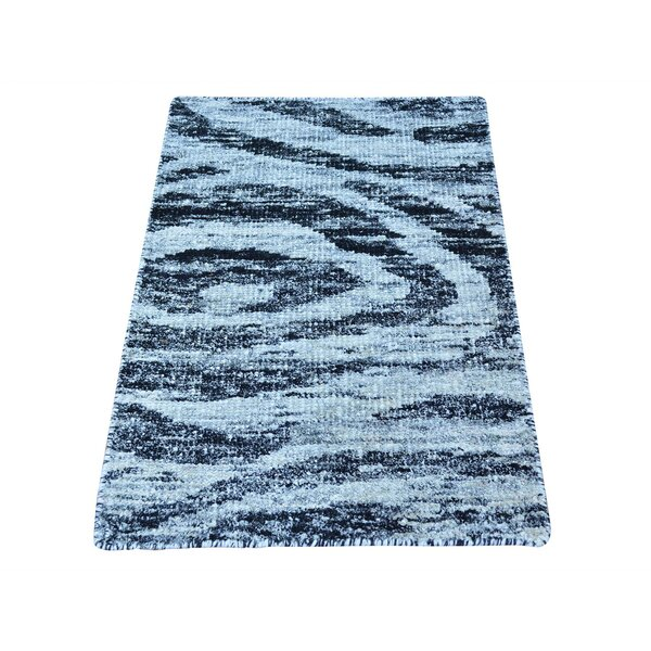 One-of-a-Kind Funkhouser Modern Sari Oriental Hand-Knotted Silk Gray/Black Area Rug by World Menagerie
