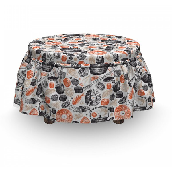 Shrimps Rolls And Wasabi Food Ottoman Slipcover (Set Of 2) By East Urban Home