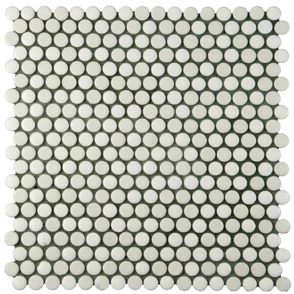Astraea 0.62 x 0.62 Porcelain Mosaic Tile in White by EliteTile
