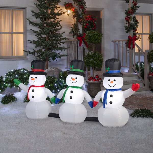 Airblown 3 Piece Light Show Snowman Pathway with 3 Music Inflatable by The Holiday Aisle