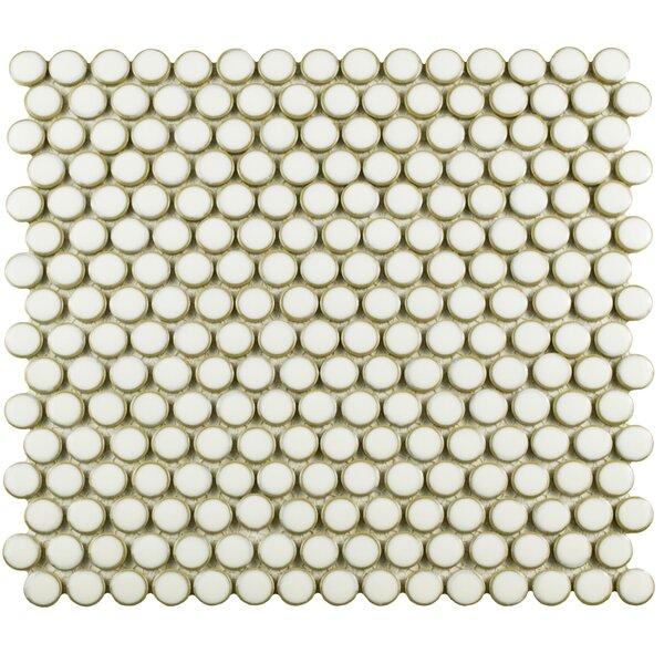 Penny 0.8 x 0.8 Porcelain Mosaic Tile in Snowcap White by EliteTile