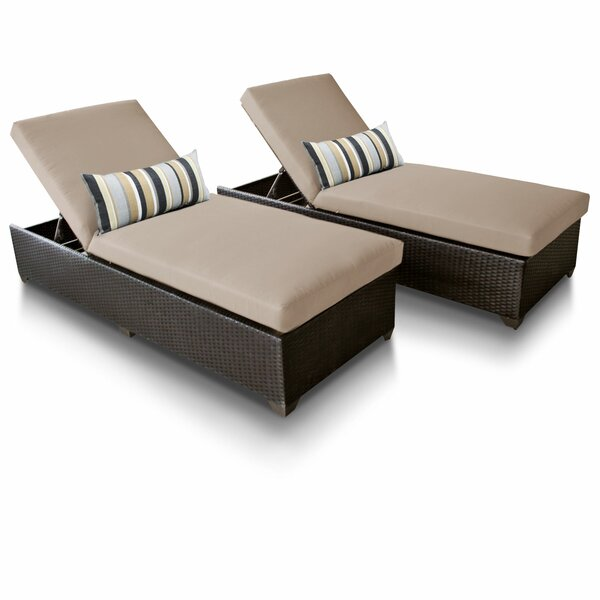 Classic Reclining Sun Lounger Set with Cushion (Set of 2) by TK Classics