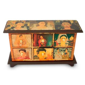 Visions of Frida Kahlo Decoupage 6 Drawer Jewelry Box by Novica