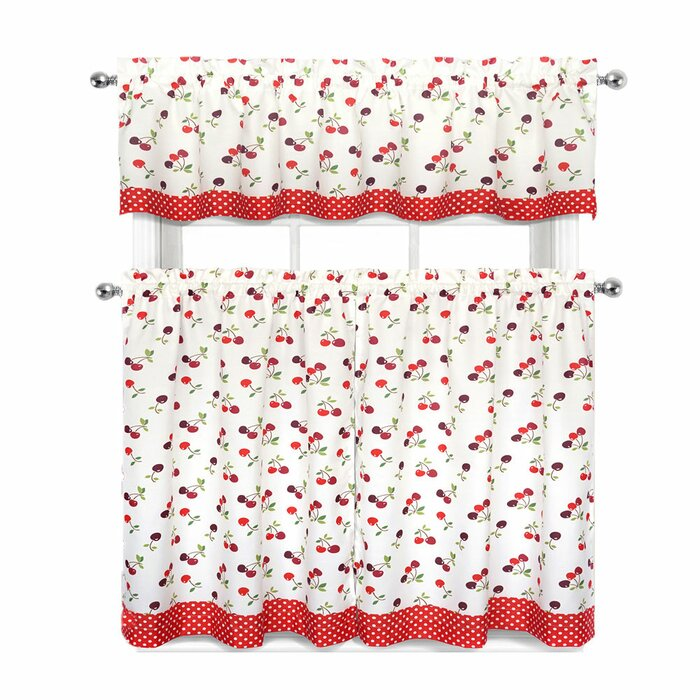 Cherries and Polka Dots 3 Piece Kitchen Curtain Set