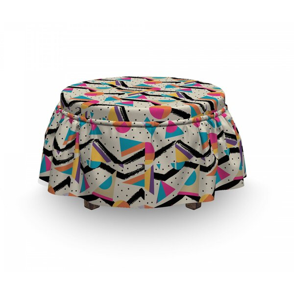 Vintage 80's Memphis Geometrical 2 Piece Box Cushion Ottoman Slipcover Set By East Urban Home