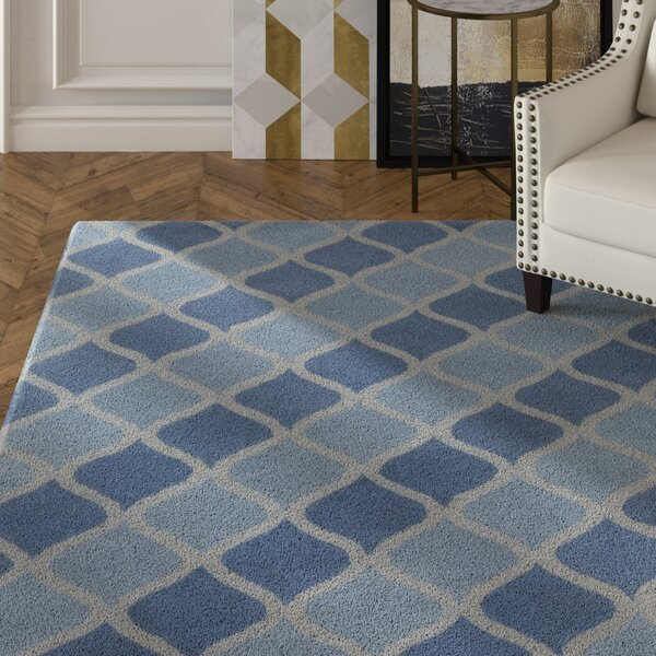 Erith Hand Tufted Rectangle Contemporary Aqua/Blue Area Rug by Mercer41
